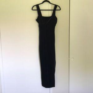 Black velvet square neck maxi dress with slit